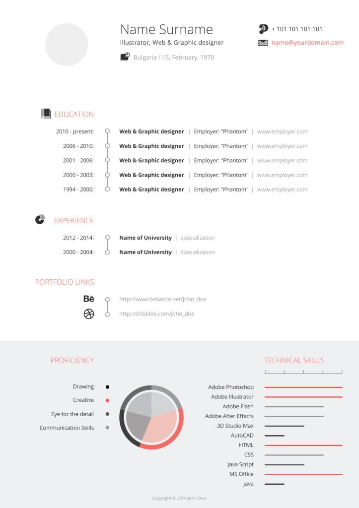 Artists resume template set made in Photoshop and ready to instant