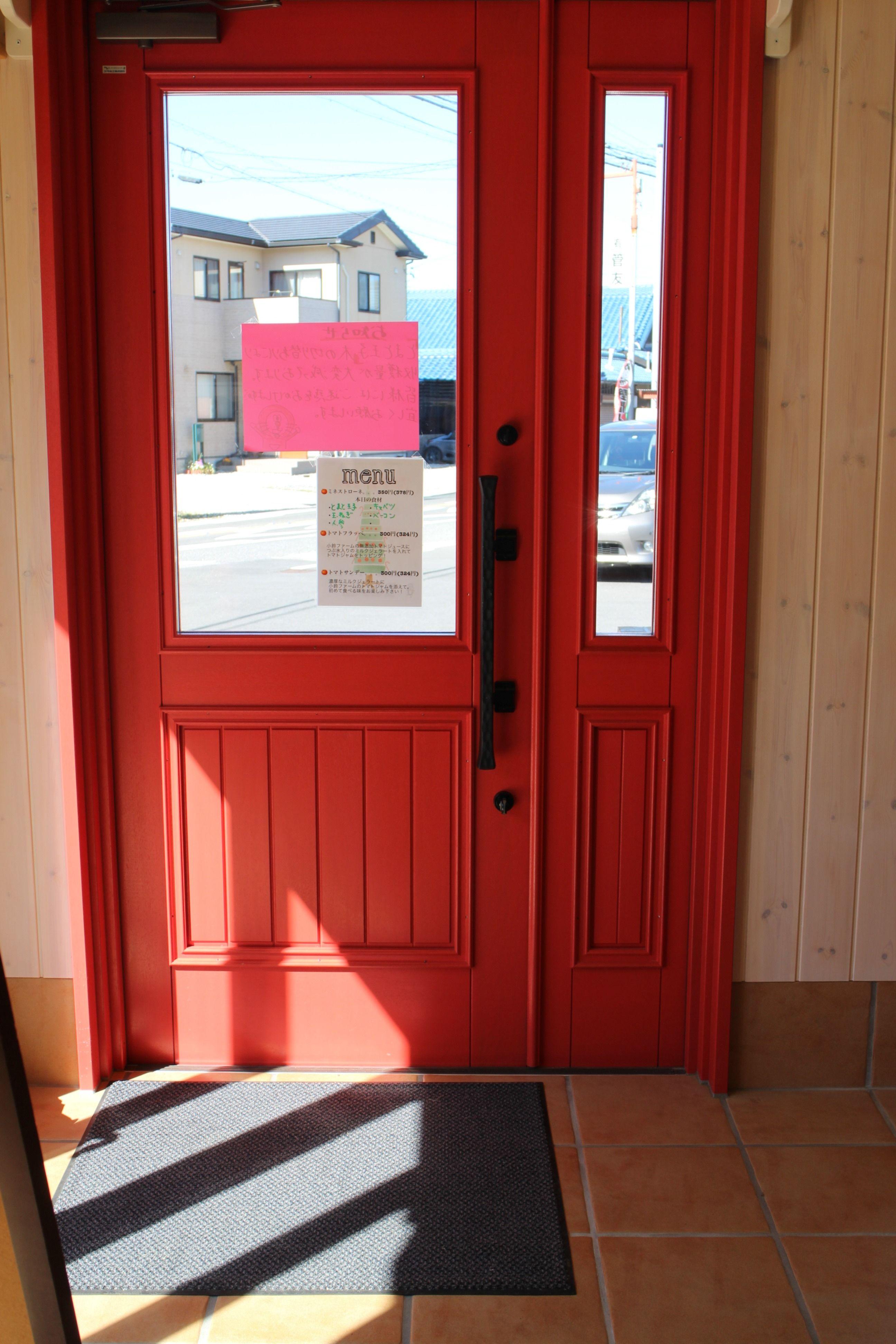 トマト色木製ドア 採れたて完熟トマト直売所 木製ドア 玄関ドア ドア