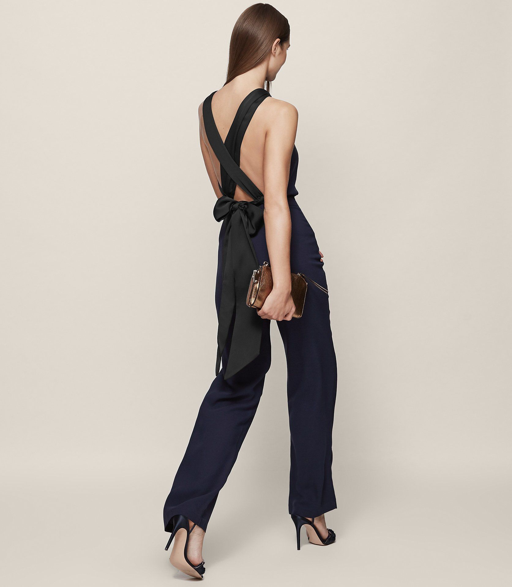 0aed3b9aa2b Lolita Ink Backless Bow-Detail Jumpsuit - REISS