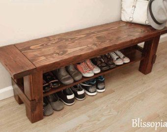 Solid Wood Storage Bench With 2 Shelves Handmade By Blissopia
