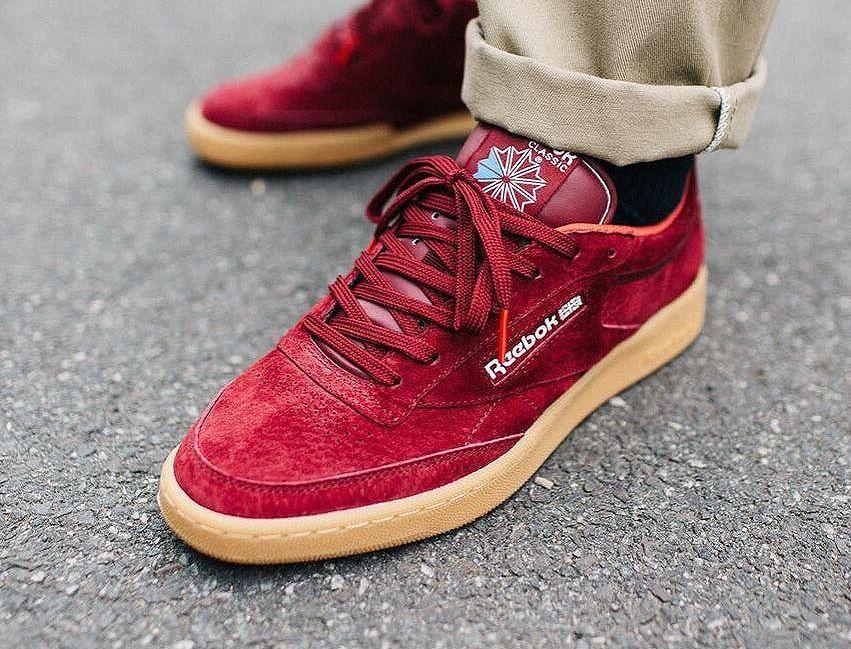 Reebok C Club 85 Indoor Burgundy Gum Basket Homme Sneakers Chaussure Sport Homme