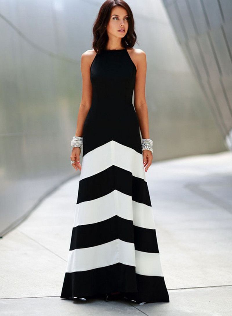Black and white halter long dress dealsdepot street style