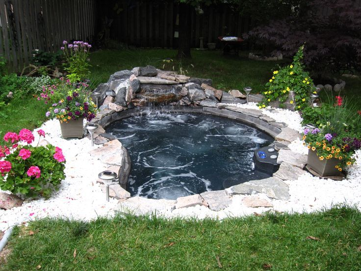 Thinking Of A Large In Ground Spa With A Waterfall Feature Instead Of A Pool Hot Tub Backyard Waterfalls Backyard Backyard Spa