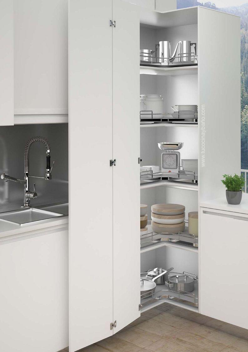 Resultado de imagen de u shaped kitchen with corner pantry for Muebles de cocina en esquina