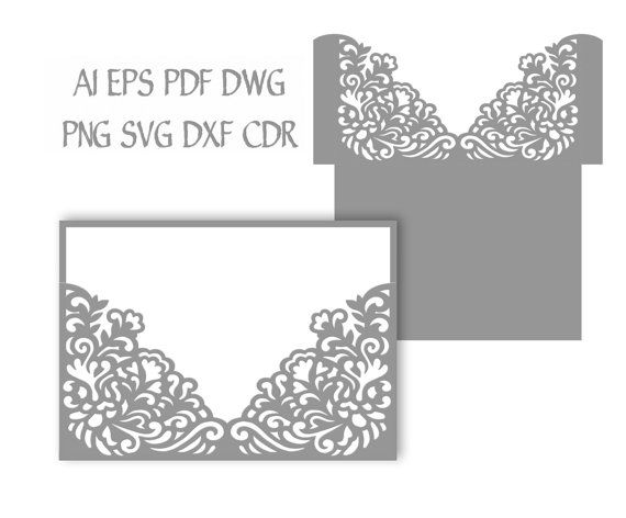 5X7 Wedding Invitation Pocket Envelope Svg Template, Quinceanera