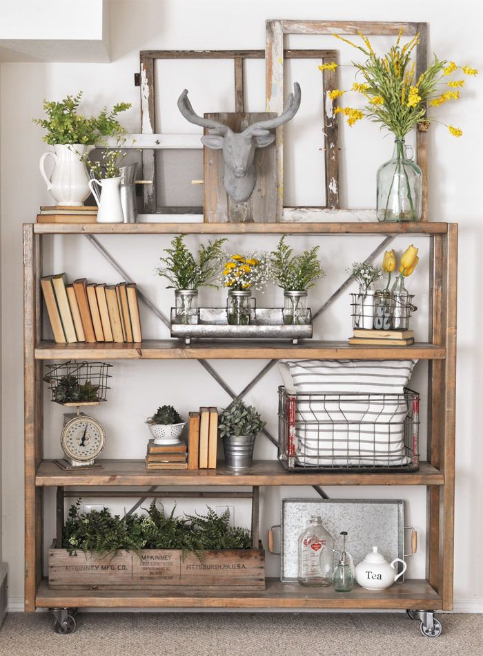 30 Beautiful Farmhouse Decorating Ideas For Summer Home Decor Bookshelf Decor Industrial Farmhouse Decor