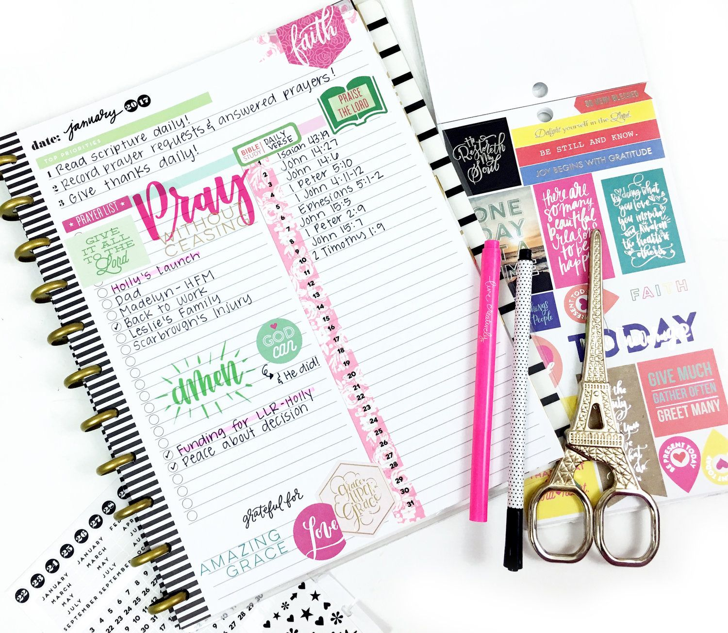 Using the happy planner daily sheet for monthly faith intentions by mambi design