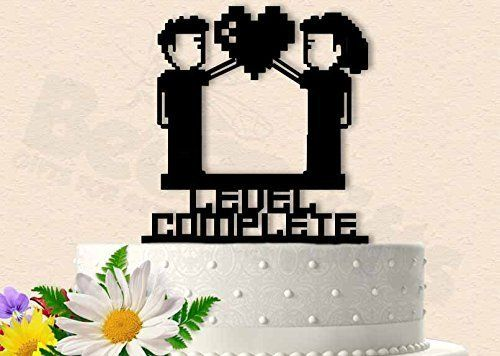 8 Bit Man And Woman Level Completed Wedding Cake Topper Top Your With
