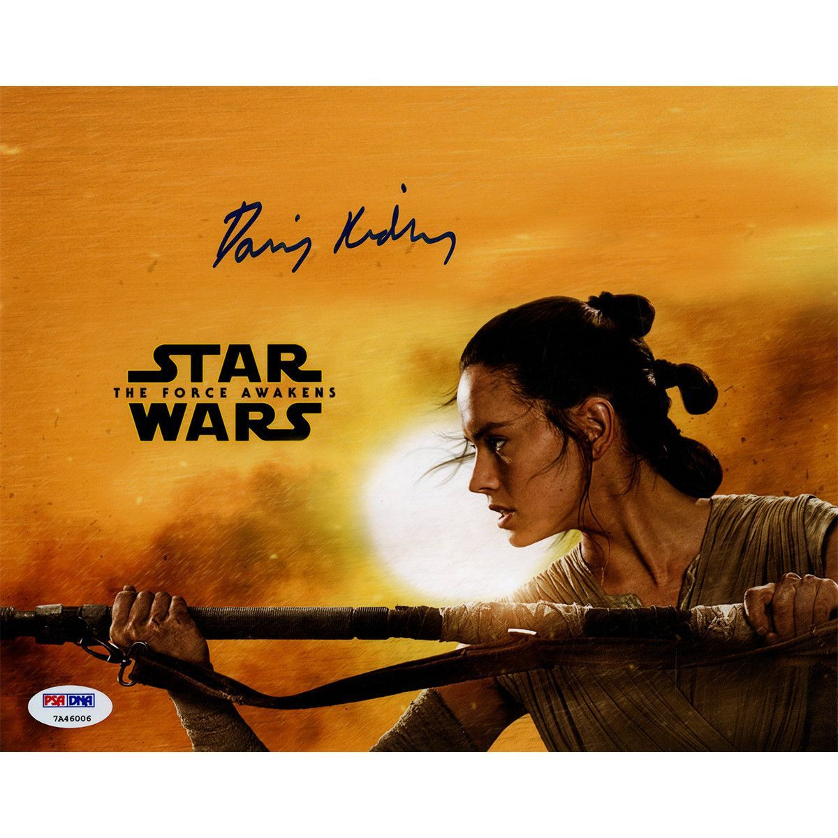 Daisy Ridley Signed Rey Star Wars The Force Awakens Yellow Background 8x10 Photo Psa Dna Ssm Rey Star Wars Star Wars Awesome