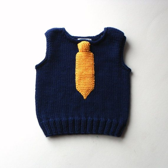 Photo of Items similar to Knit baby boy vest with tie blue wool vest for boy merino vest with yellow tie MADE TO ORDER on Etsy
