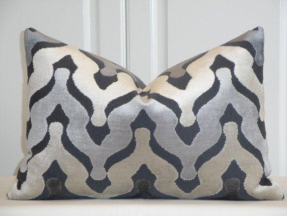 CUT VELVET - Decorative Pillow Cover - Zig Zag Velvet - Chevron Velvet -  Ikat Velvet Pillow - Gray - Beige