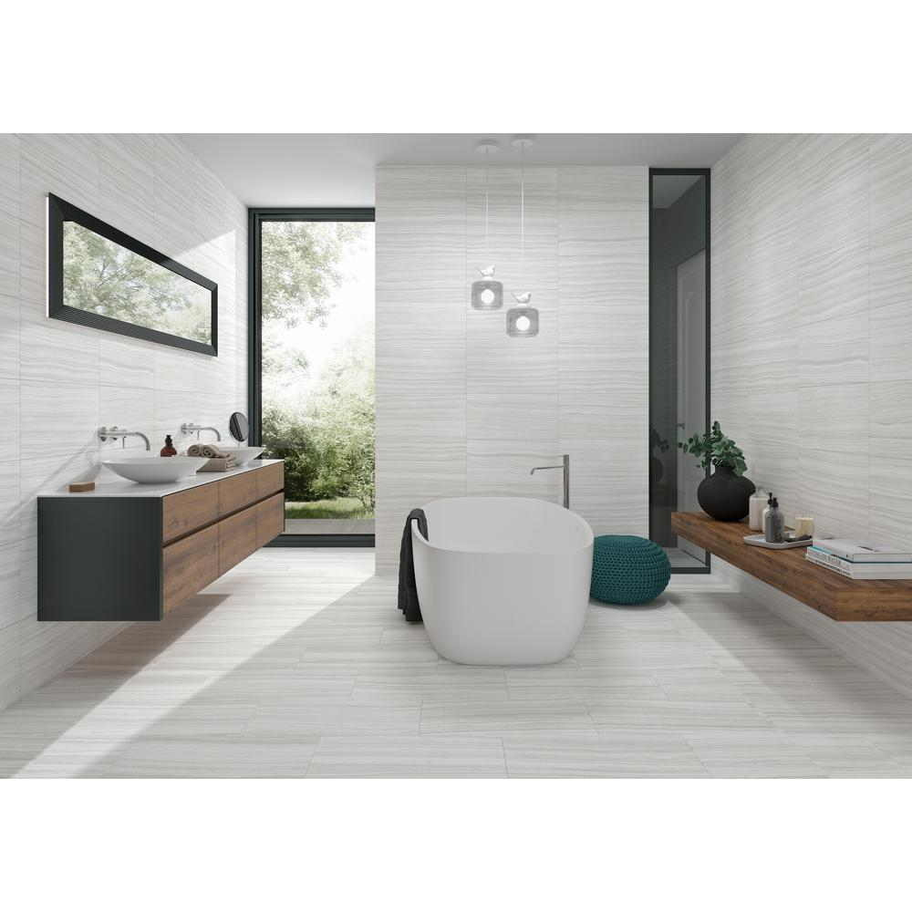 Msi Trinity Ivory 12 In X 24 In Glazed Porcelain Floor And Wall Tile 14 Sq Ft Case Nhdtriivo1224 The Porcelain Flooring Wood Tile Bathroom Wall Tiles