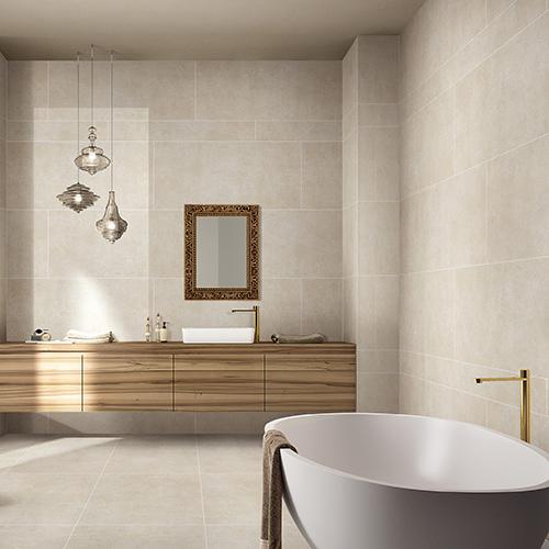 Crepito Cream Limestone Effect Porcelain Tiles Used For The Floor Of A Modern Luxury Bathroom Trendy Bathroom Tiles Tile Bathroom Modern Luxury Bathroom