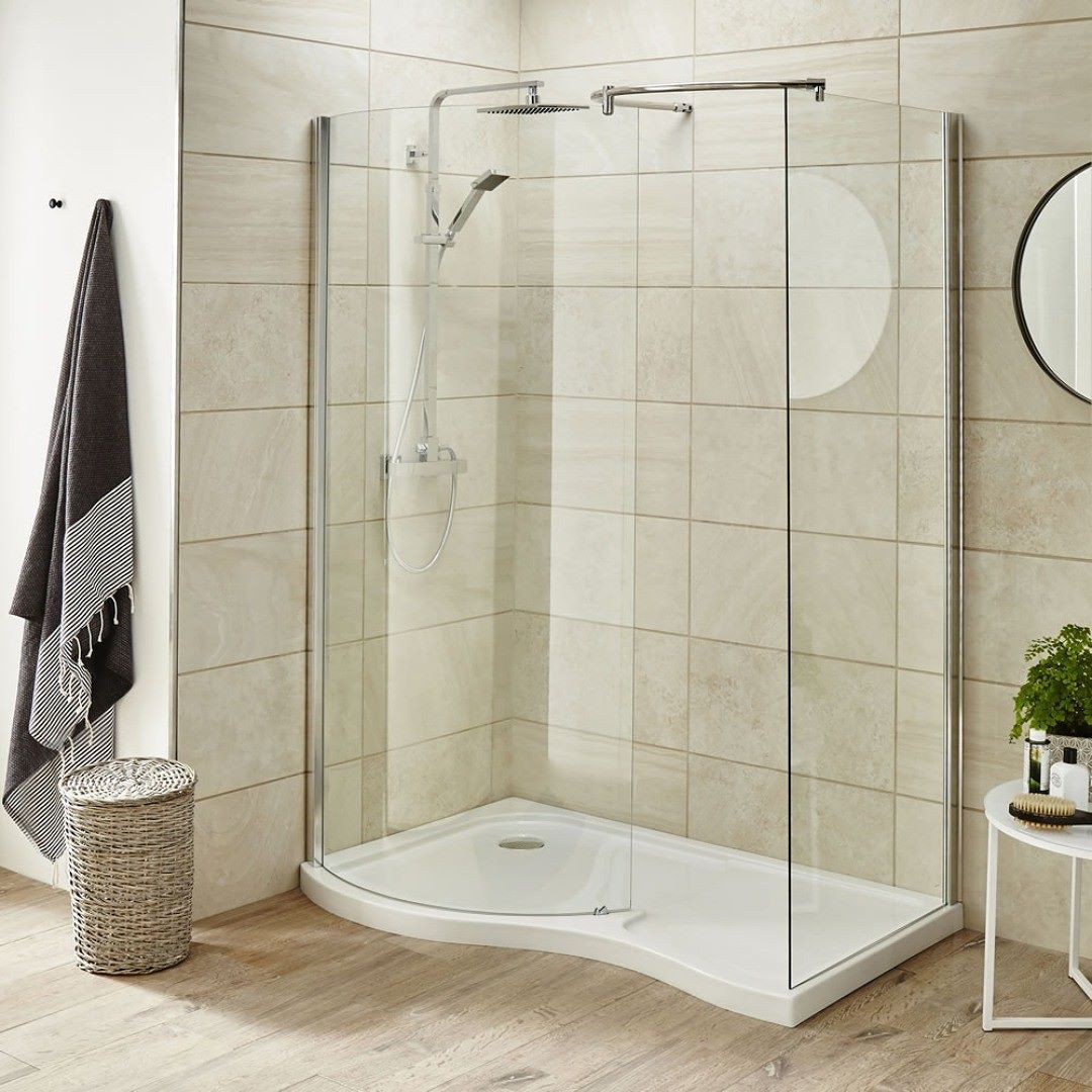 This curvaceous walk in shower enclosure is a great option for ...