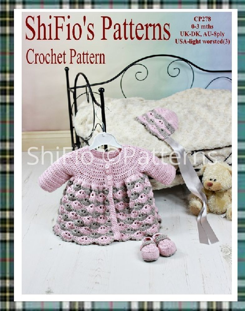 crochet pattern CP278 baby matinee jacket, hatr and shoes, UK DK ...