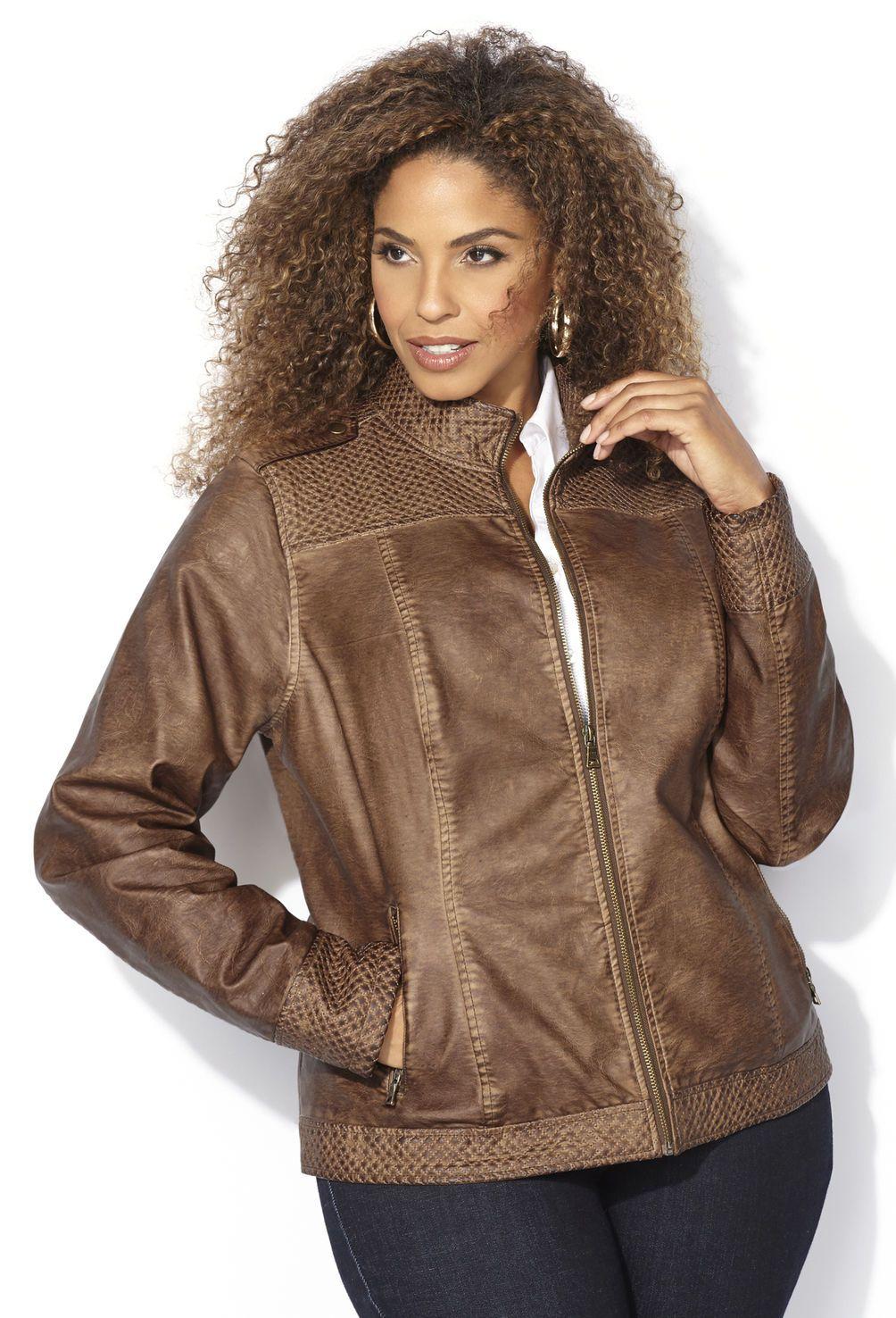 52fa6a740cc5d Garment Dyed Faux Leather Jacket-Plus Size Jacket-Avenue