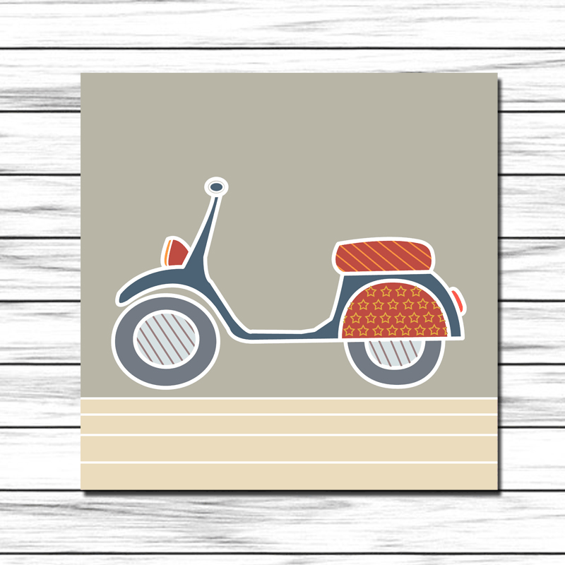 Cuadro infantil moto vespa para decoraci n de pared en for Vespa decoracion