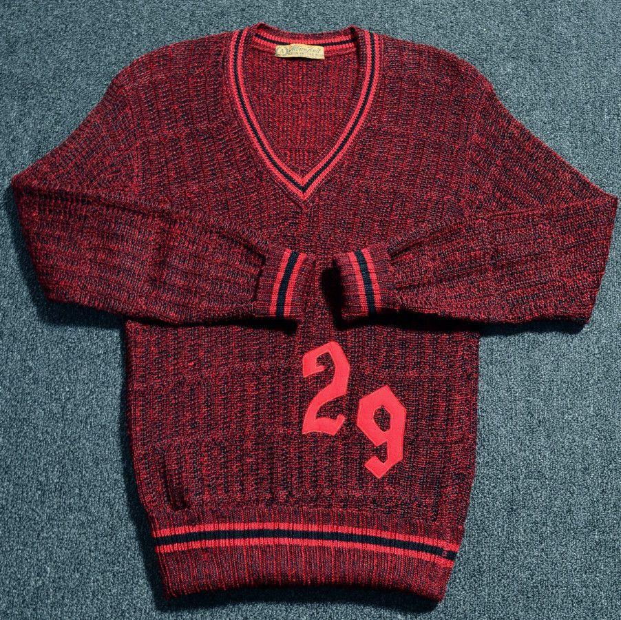 20's (1929) VINTAGE RED & BLACK WOOL V-NECK PULLOVER VARSITY SWEATER -