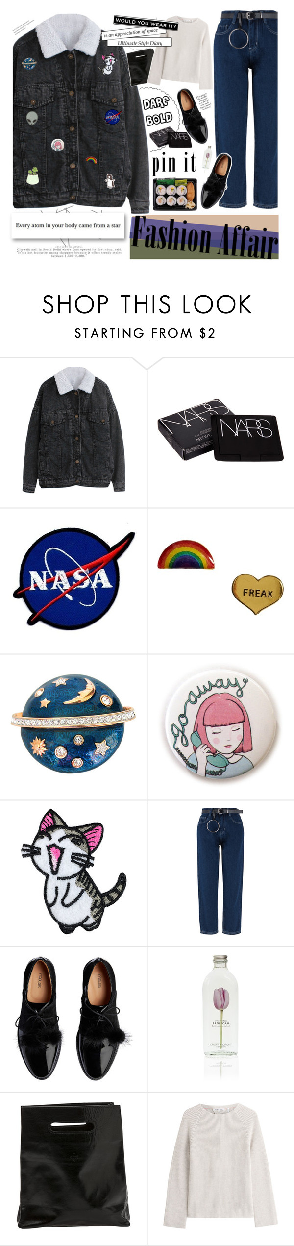 """""""pins win"""" by coreeadis ❤ liked on Polyvore featuring NARS Cosmetics, Me & Zena, Swarovski, Marie Turnor, Helmut Lang and pins"""