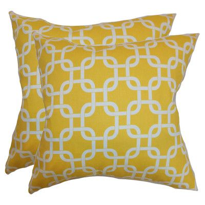 The Pillow Collection Quinn Pillow in Corn Yellow (Set of 2)