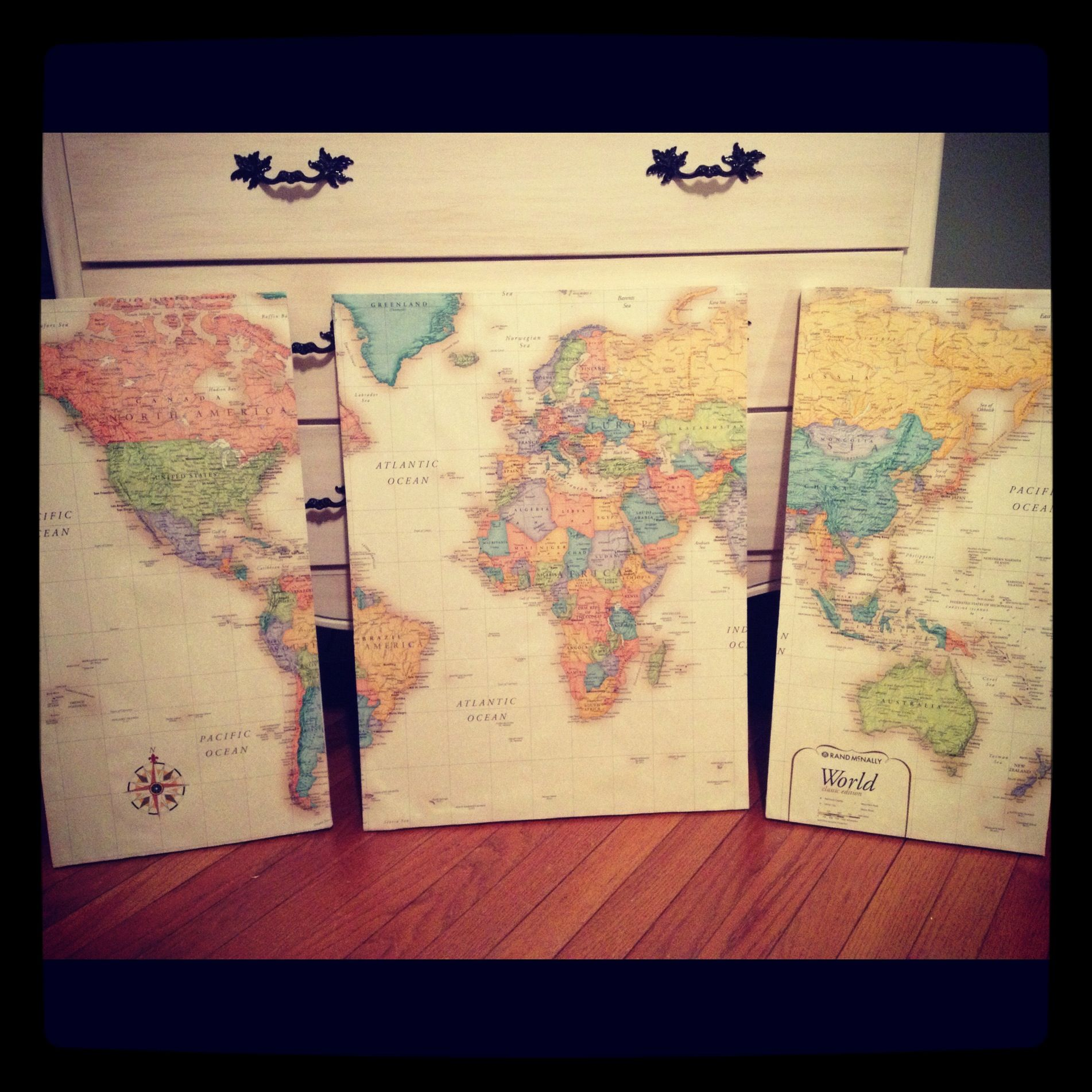 World Map Wall Art... Saw this pin and knew I had to do it... Used ...