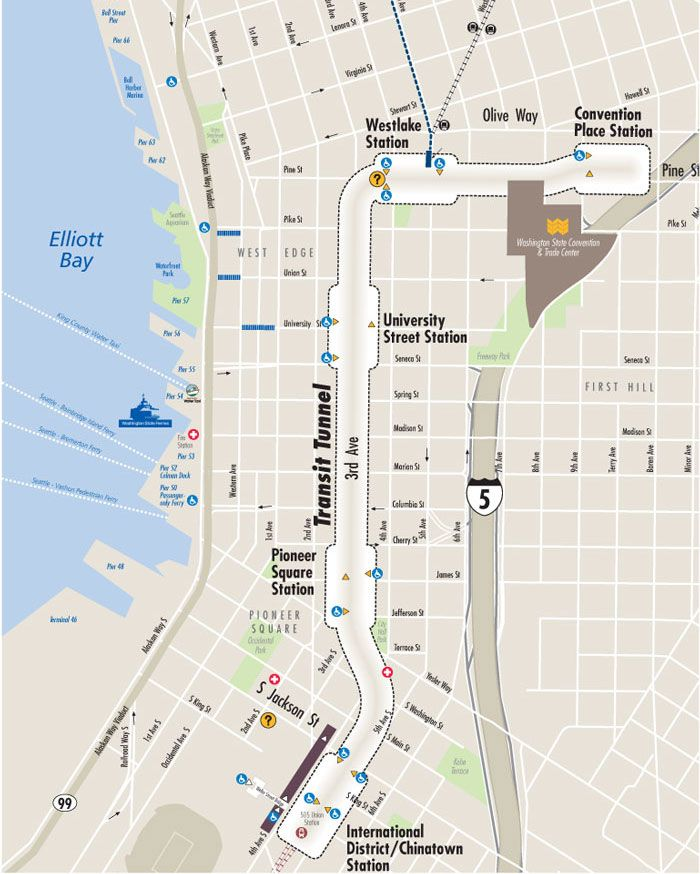 Downtown Seattle Transit Tunnel Map | Washington State | Seattle map ...