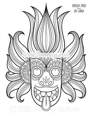 Sri Lanka Mask Coloring Page By Thaneeya Mcardle Art Folk Art
