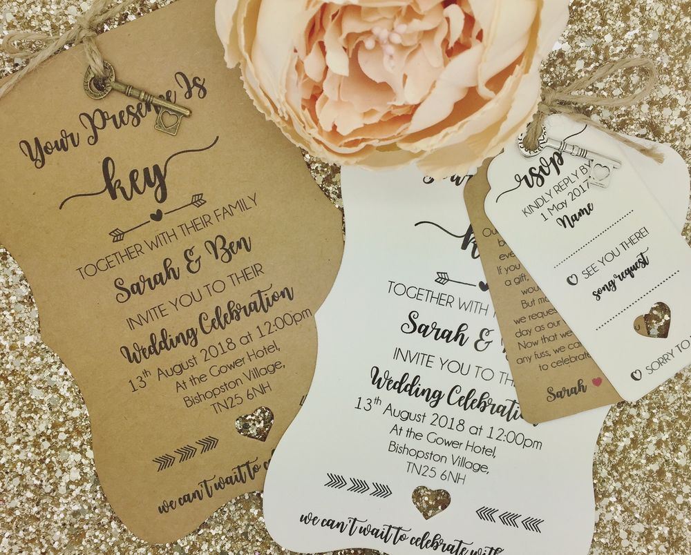 Vintage Shabby Chic Personalised Wedding Invite Day/ Evening, Key ...