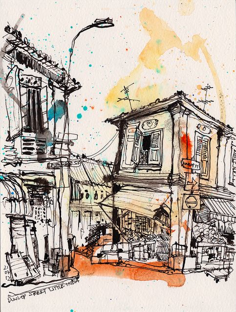 Dunlop Street Little India With Images Urban Sketching Urban