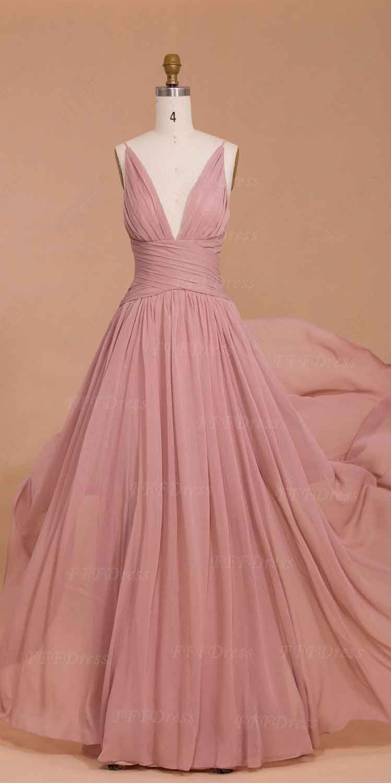 Spaghetti straps dusty pink bridesmaid dresses long prom