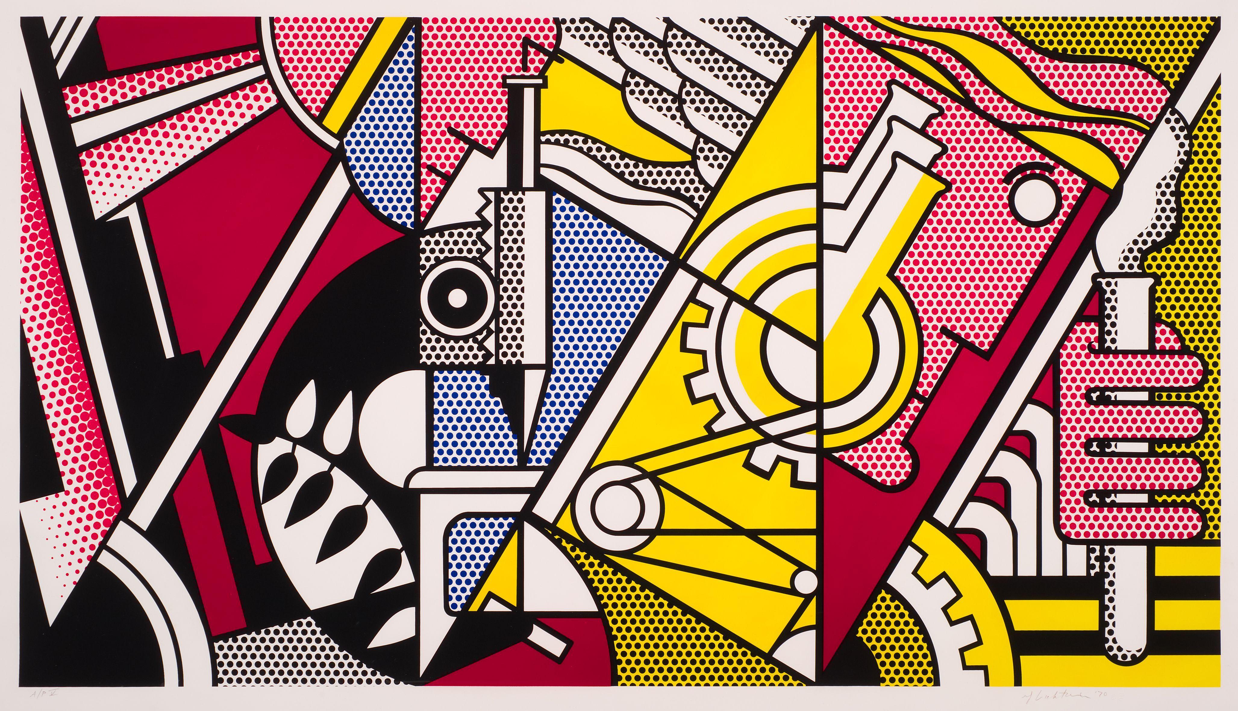 Peace Through Chemistry ~ 1970 ~ Zeefdruk ~ 195,9 x 261,3 cm. ~ Particuliere verzameling ~ © Estate of Roy Lichtenstein