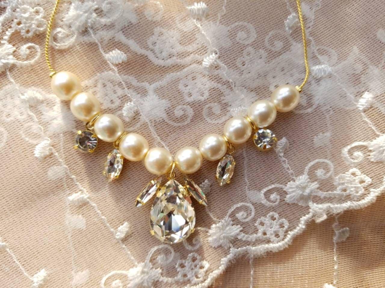 Photo of Swarovski Kristallperlenkette, Kristallkette, Perlenkette, zierlicher Schmuck, elegante …