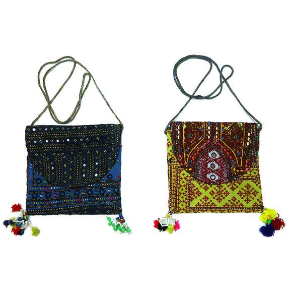 Two Pouch Bags Handmade in Classic Blue and Lime by Roopantaran, $40.00