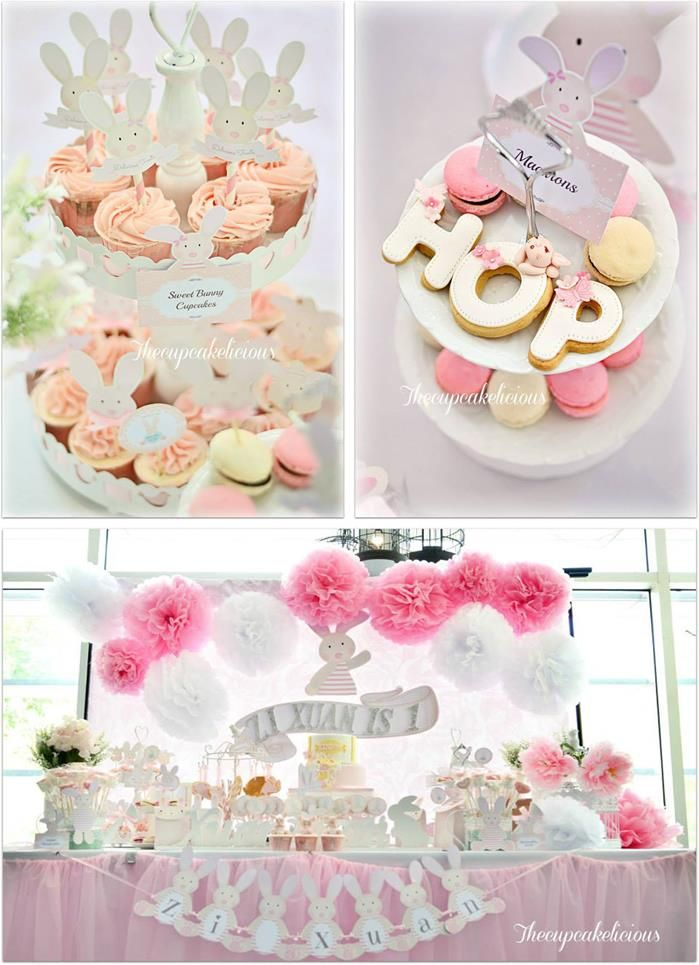 Shabby Chic Bunny Themed 1st Birthday Party With Such Cute