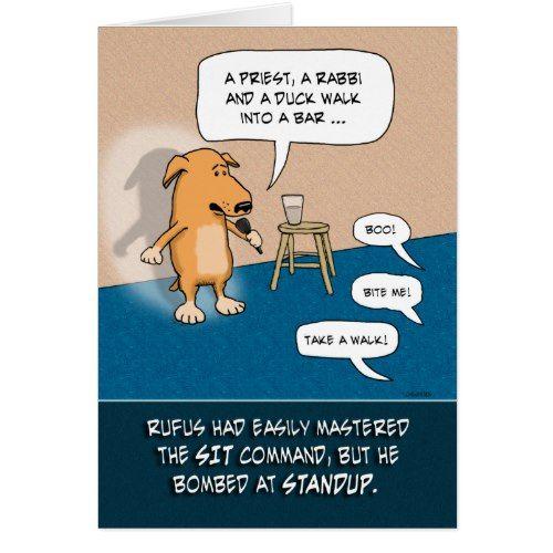 Funny Birthday Standup Comic Dog Card Funny Birthday Party