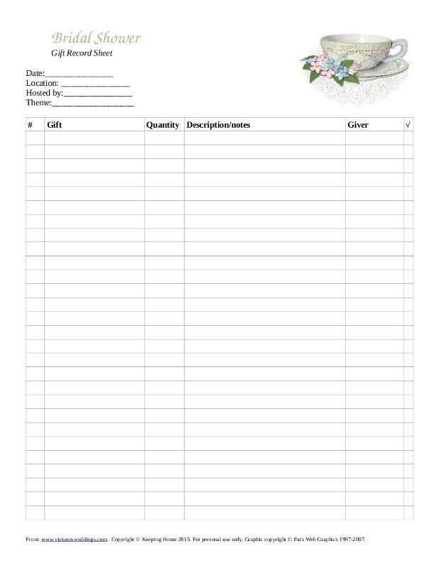 Free Printable Gift Record Sheet For A Bridal Tea Bridal Tea Bridal Shower Planning Bridal Shower Gifts