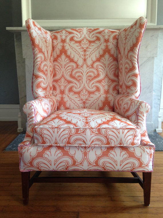 Cute vintage looking chair! Etsy listing at  https://www.etsy.com/listing/216542355/antique-wing-back-chair -new-upholstery - Antique Wing Back Chair - New Upholstery! Lounge Pinterest
