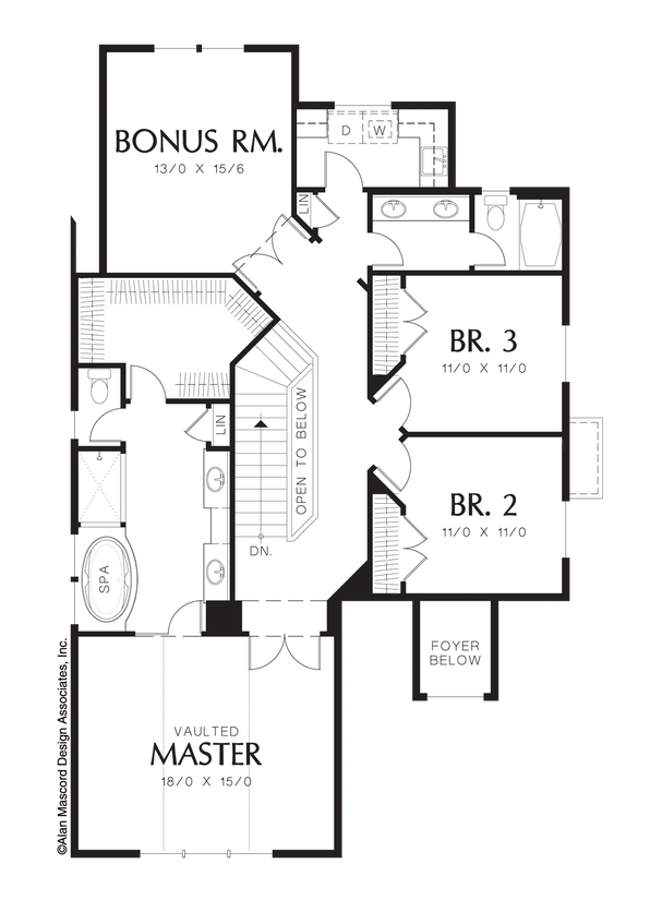 upper floor plan of mascord plan 22137 - the wilton - narrow lot