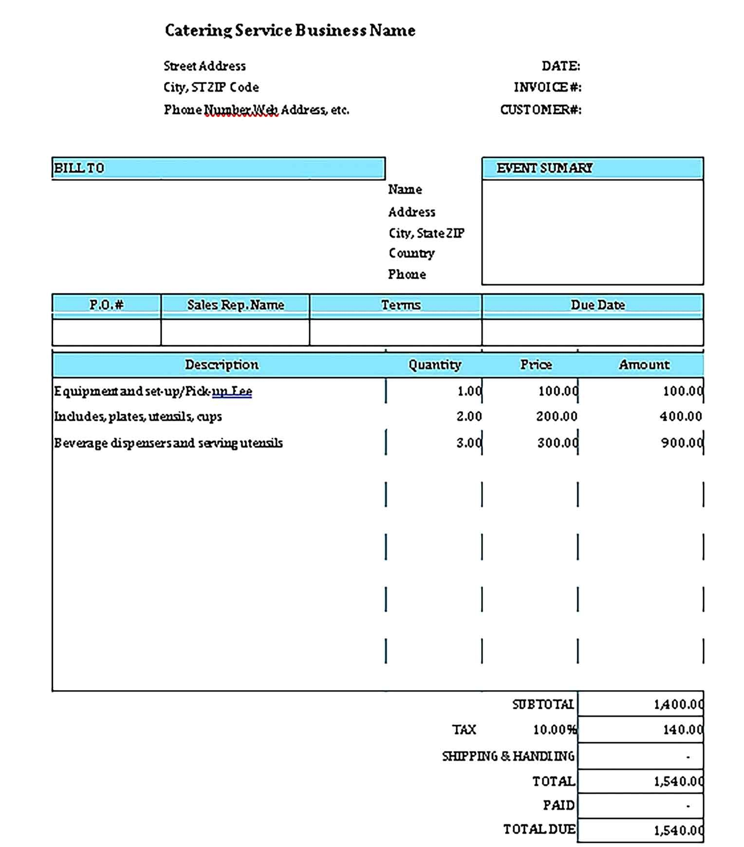Catering Invoice Template Sample Invoice Template Catering Business Template