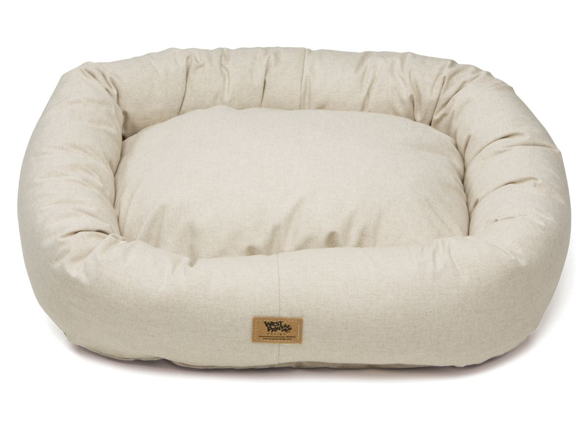 Linen Bumper Dog Bed By West Paw Design Dogbeds Pricecopets Dog Pillow Bed Dog Bed Durable Dog Bed