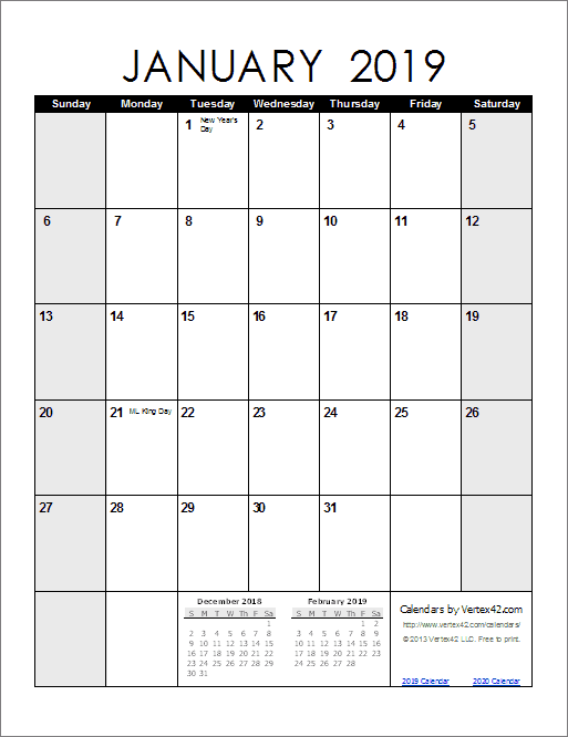 January 2019 Calendar Vertical Monthly Calendar Printable