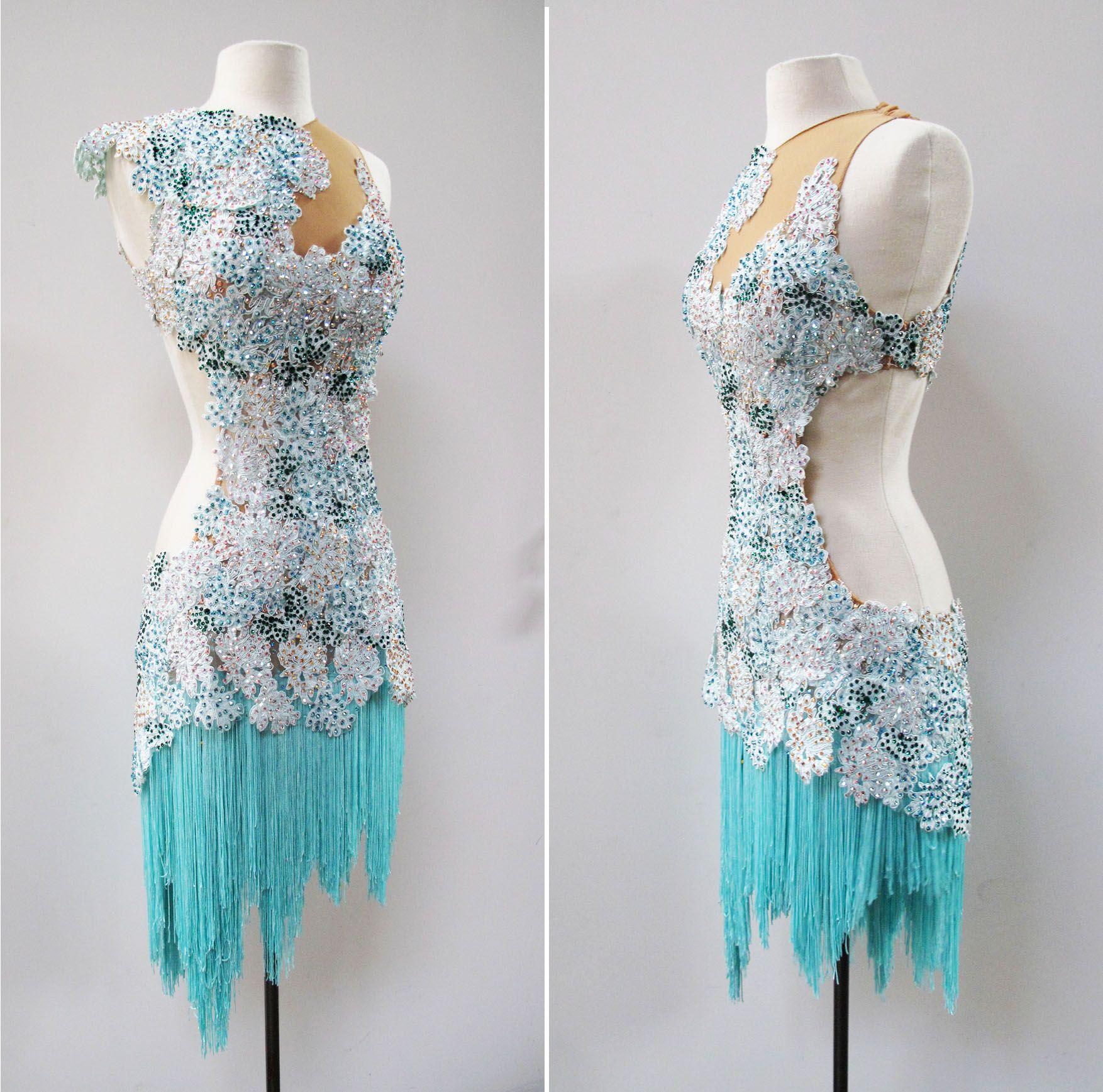Mint green fringe and lace latin dance dress/gown | ballroom latin ...