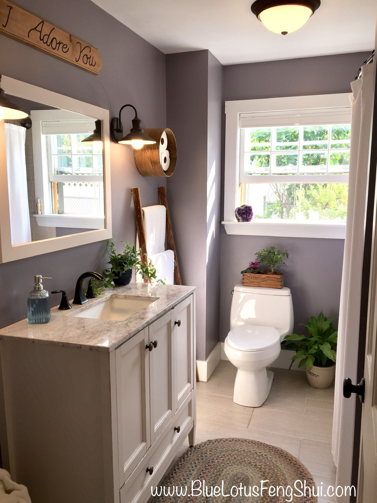 Stunning Farmhouse Rustic Bathroom With Sherwin Williams Gris