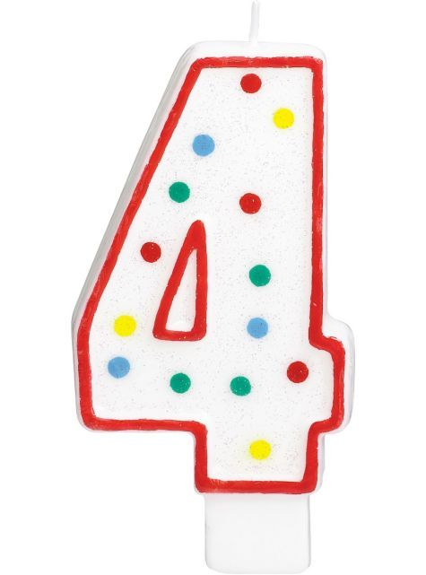 Giant Red Outline Glitter Polka Dot Number 4 Candle 5in