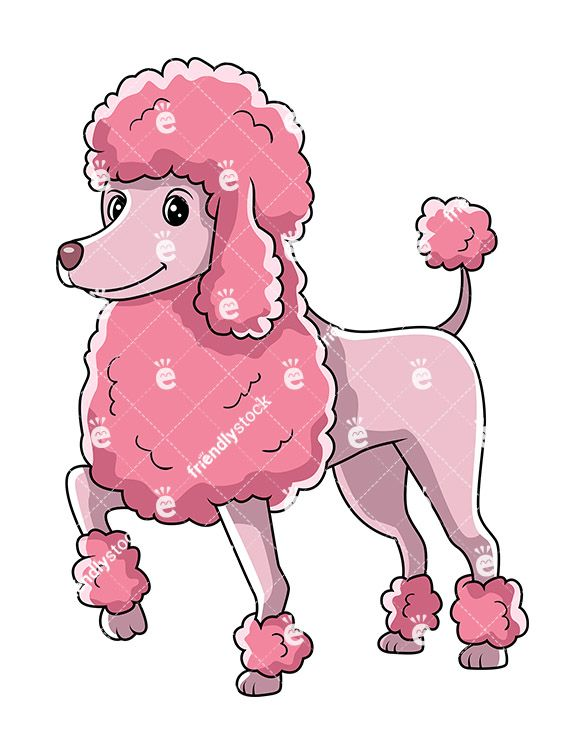 pink poodle dog standing with one paw up vector cartoon clipart rh pinterest co uk Poodle Puppy Face Clip Art Poodle Puppy Face Clip Art