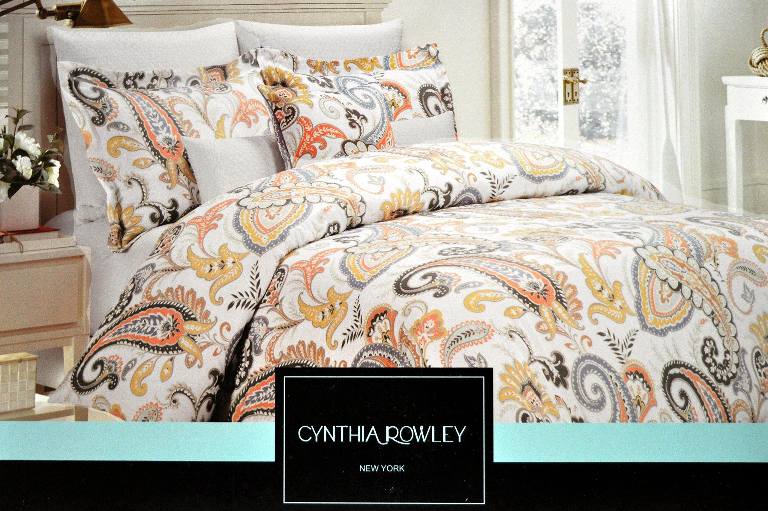Cynthia Rowley King Duvet Cover 3pc Set Multicolored Paisley