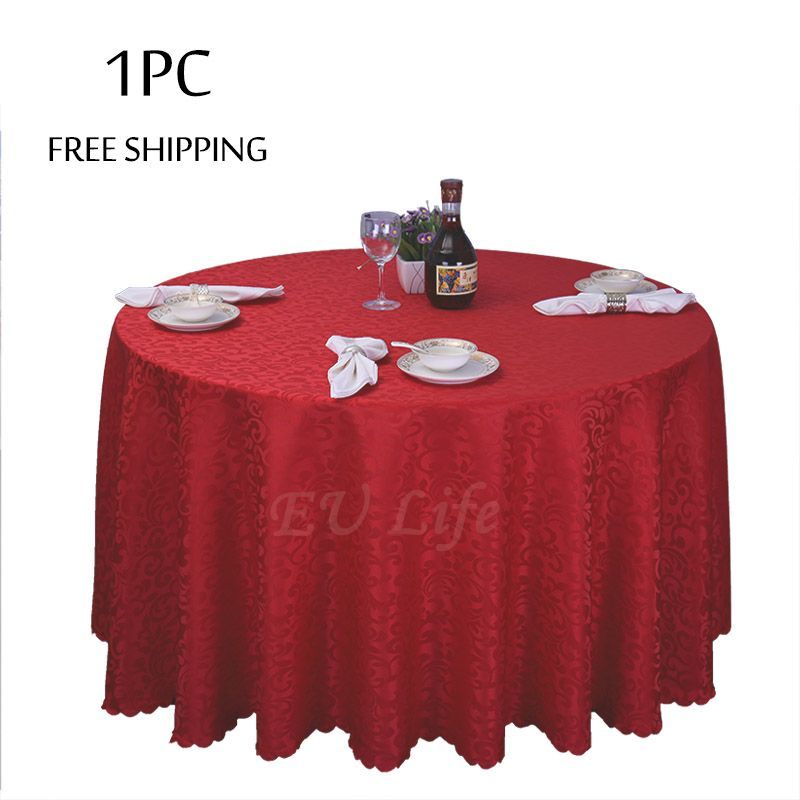 Wholesale 1pc Polyester Wedding Christmas Tablecloth Jacquard Red