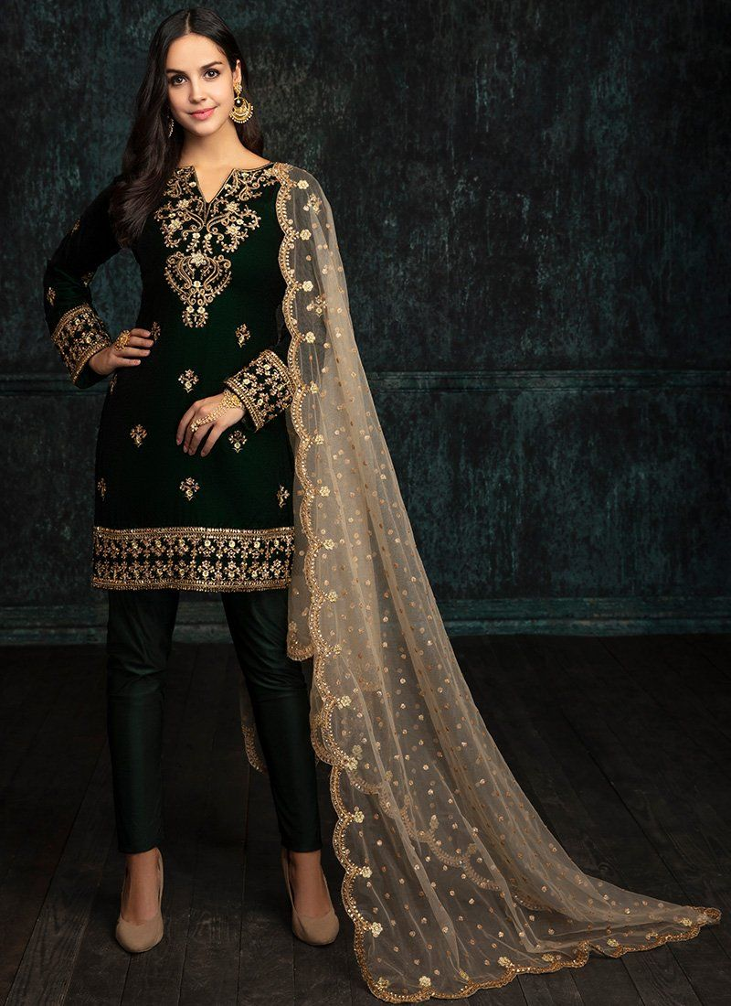 c538d788dc Emerald Green Velvet Straight Suit in 2019 | Desi-Ness | Embroidery ...
