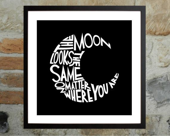 Affordable art! Printable Poster - The Moon - Travel - Hand Lettering - Art Print - Hand Written - Black and White - Quote - Decor - Wall Art - Digital File by Kristen Polsinelli at  DESIGNXFIVE, $10.55