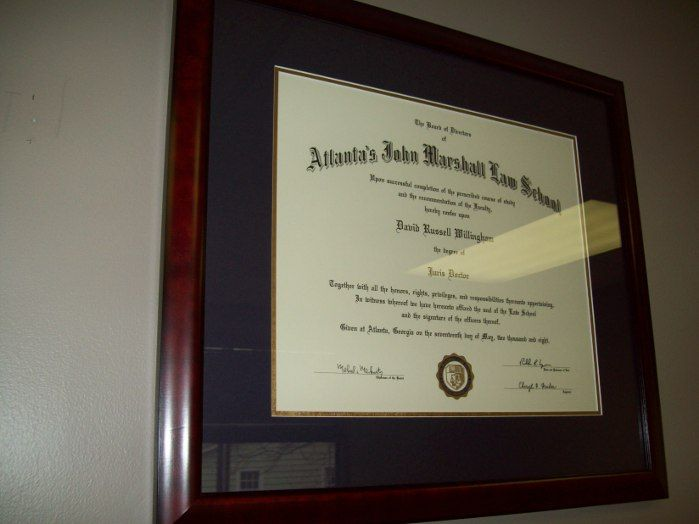 One Of A Half Dozen Or So Certificates Framed And Installed For An Attorney In Marietta Georgia Http Www Framedartexpert Com M Diploma Frame Frame Diploma